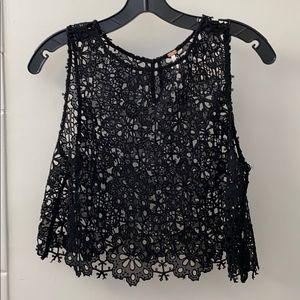 { free people } black lace crop top